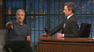 See Jon Stewart Drum on 'Late Night,' Swap Pants With Jimmy Fallon