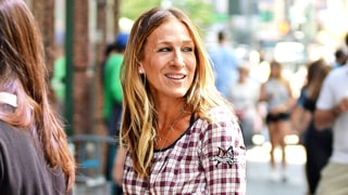 Sarah Jessica Parker Pairs Track Pants With Glittery Mary Jane Heels
