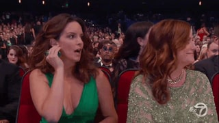 Let's Watch Tina Fey React to Jimmy Kimmel's Bill Cosby Bit at Emmys 2016 Again, Shall We? GIF