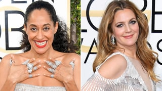 2017 Golden Globes Red Carpet: Tracee Ellis Ross, Drew Barrymore Dazzle in Blinged-Out Diamond Rings