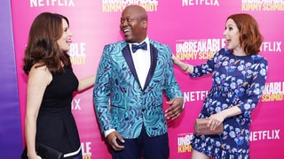Tina Fey, Ellie Kemper Embody 'Unbreakable Kimmy Schmidt' Colorful Spirit on the Red Carpet