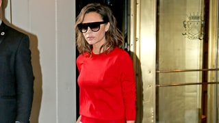 Victoria Beckham Color-Blocks With Cherry Red Sweater, Bright Blue Pants