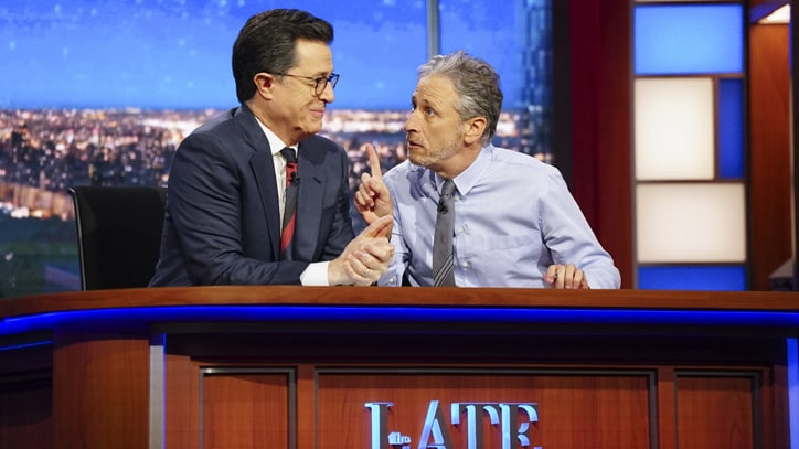 Watch Jon Stewart Urge Media to Dump Trump on 'Colbert'