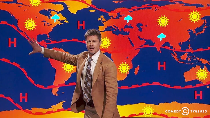 Brad Pitt Gives Surprise Weather Forecast on 'Jim Jefferies Show': 'There Is No Future'
