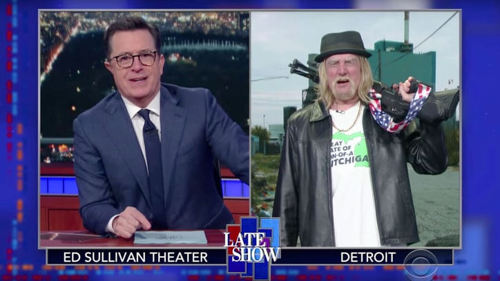Watch Stephen Colbert on Kid Rock Versus Ted Nugent Michigan Senate Race