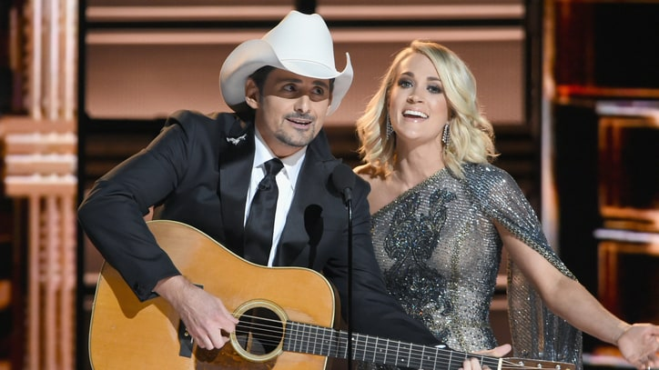See Carrie Underwood, Brad Paisley Lampoon Trump, Hillary at CMA Awards