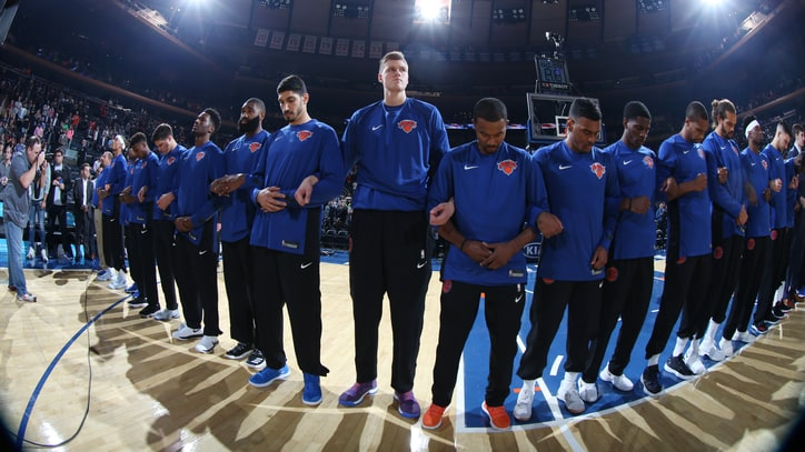 Knicks Call Attention to 'Serious Issues' by Locking Arms During National Anthem