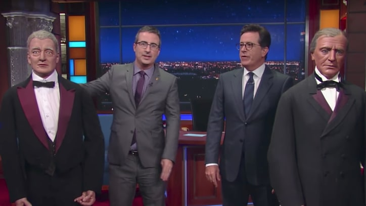 See Stephen Colbert, John Oliver Throw Insults at Wax Presidents