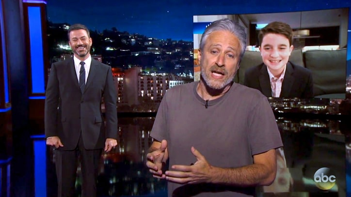 See Jon Stewart Berate Bar Mitzvah Boy for Jimmy Kimmel-Themed Party