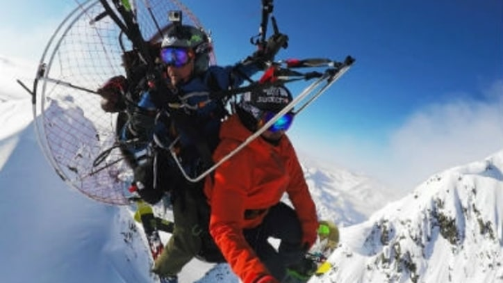 Watch Backcountry Skiers Drop Onto Mountains From a Powered Paraglider
