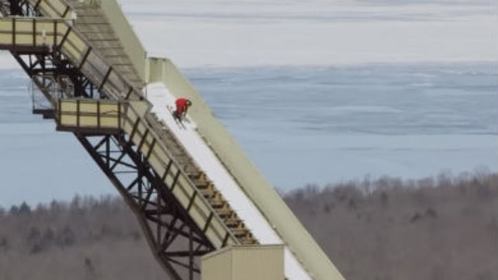 Watch a Skier Fly off a 24-Story Ski Jump Backwards
