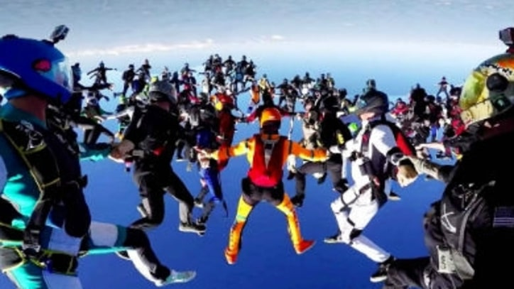 Watch 164 Skydivers Converge for a Record-Breaking Jump