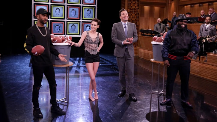 Watch Big Sean, Kristen Stewart Break Glass With Footballs on 'Fallon'