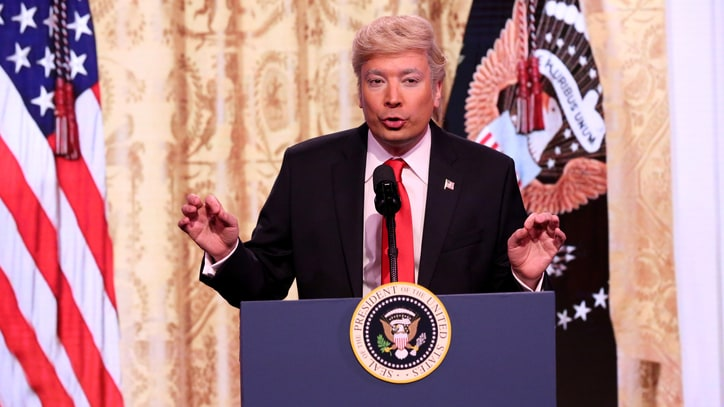 Watch Jimmy Fallon Mock President Trump's Insane Solo Press Conference