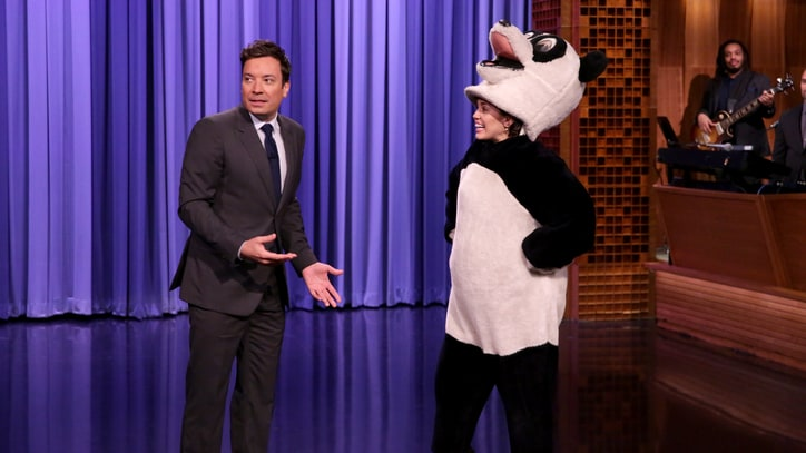 Watch Miley Cyrus Take Over NBC as Giant Panda on 'Fallon'