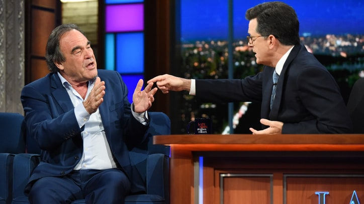 See Oliver Stone Sympathize With Putin, Defend Soft Interview on 'Colbert'