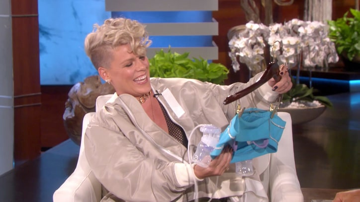 Watch Pink Talk Inspirational VMAs Speech, Breastfeeding Son on 'Ellen'