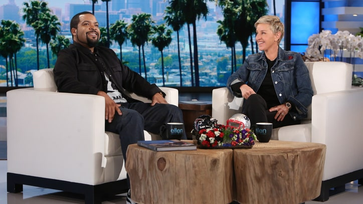 Watch Ice Cube, Ellen DeGeneres Prep for Super Bowl With 'Foot Flickers'