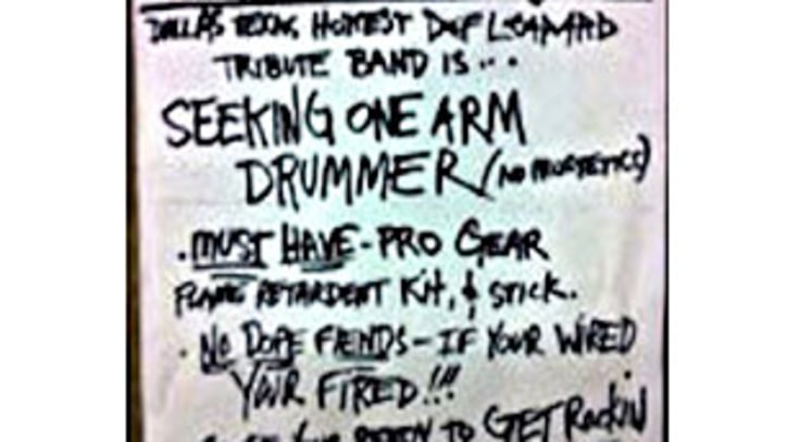 Digest: Def Leppard Tribute Band Seeks Armless Drummer; T.I. Busted For Prison Visit Handjob