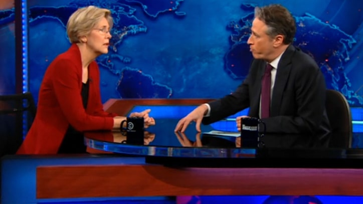 Elizabeth Warren Drops by the Daily Show