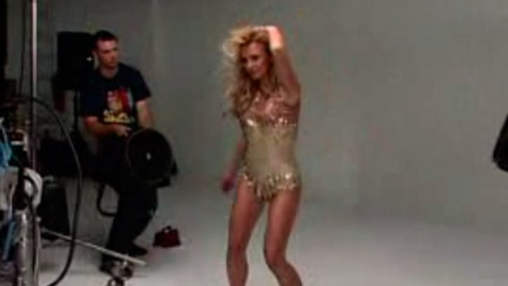 Britney Spears The pop star dances on set