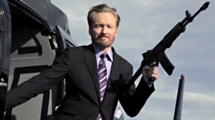 Conan O'Brien For his second cover, O'Brien hangs off a helicopter