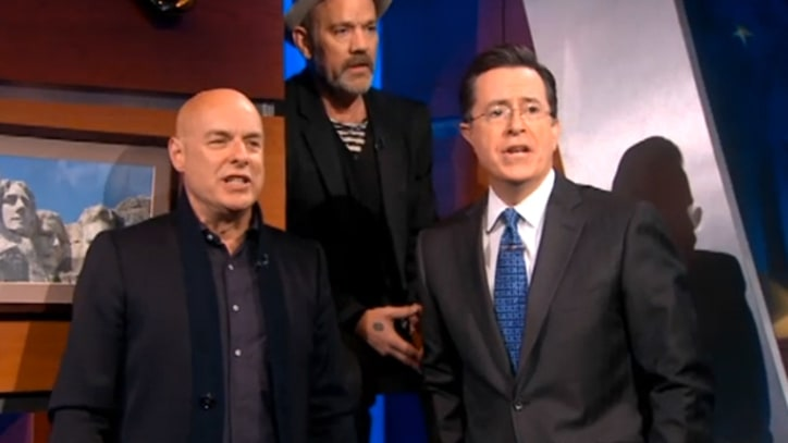 Michael Stipe and Brian Eno Sing 'Lean on Me' with Stephen Colbert