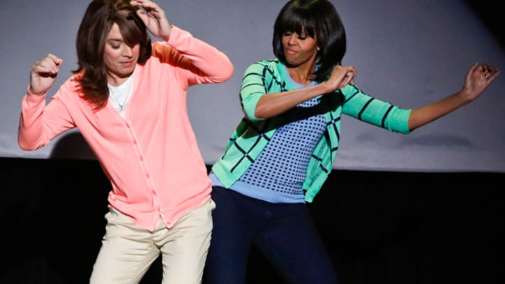 Michelle Obama Demonstrates the 'Evolution of Mom Dancing' on 'Fallon'