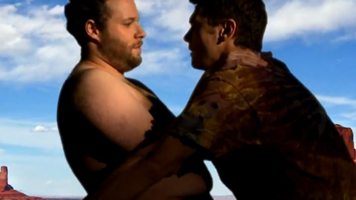 Topless Seth Rogen Nuzzles James Franco in 'Bound 2' Spoof