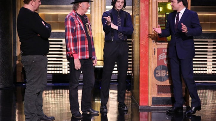 Neil Young, Jack White Cut Vinyl Record Live on 'Tonight Show'
