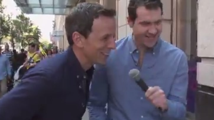 See Billy Eichner and Seth Meyers Terrify New Yorkers With an Emmy