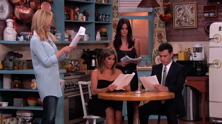 The 'Friends' Women Reunite on 'Kimmel' for Awkward Fan-Fiction Scene