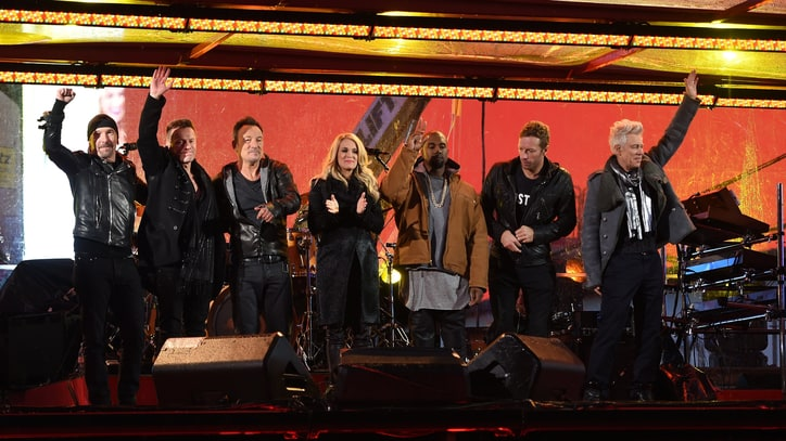 Bruce Springsteen, Chris Martin Fill Bono's Shoes at Times Square Benefit