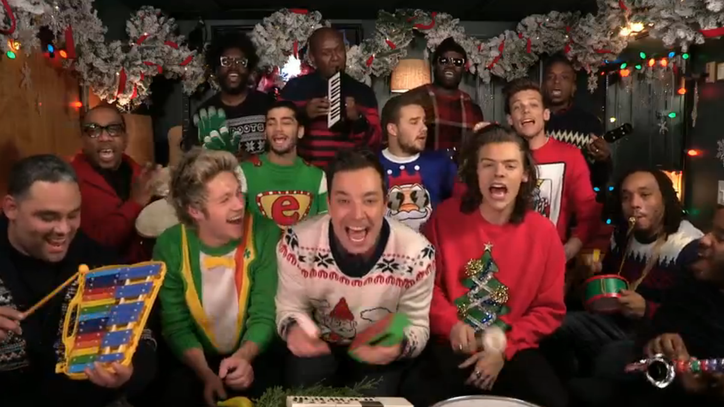 One Direction, Jimmy Fallon, Roots Sing 'Santa Claus' With Classroom Instruments