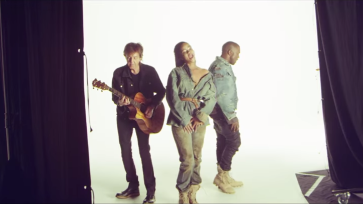 Watch Rihanna, Kanye and McCartney on 'FourFiveSeconds' Video Shoot