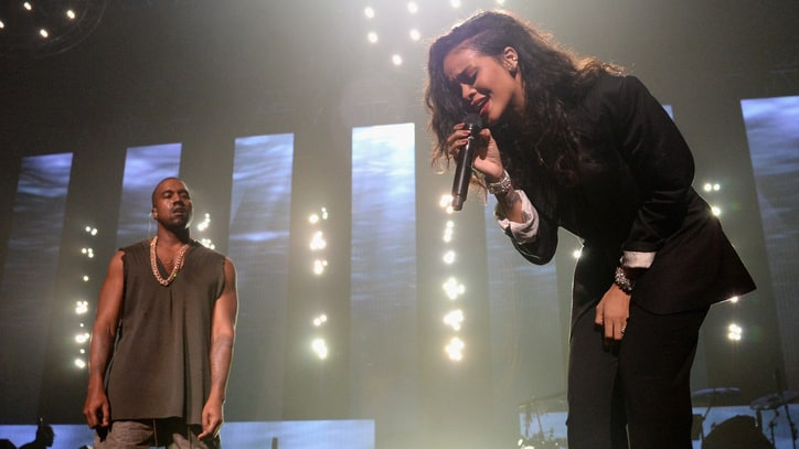 Rihanna, Kanye West Perform Together at Pre-Super Bowl Party