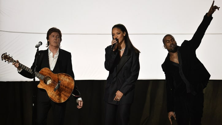 Kanye West, Rihanna, Paul McCartney Debut 'FourFiveSeconds' Live at Grammys