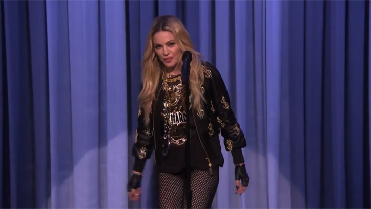 Watch Madonna Do Stand-Up, Play Children's Instruments on 'Fallon'