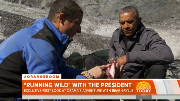 Watch Barack Obama, Bear Grylls Go Rogue, Feast on Salmon Carcass
