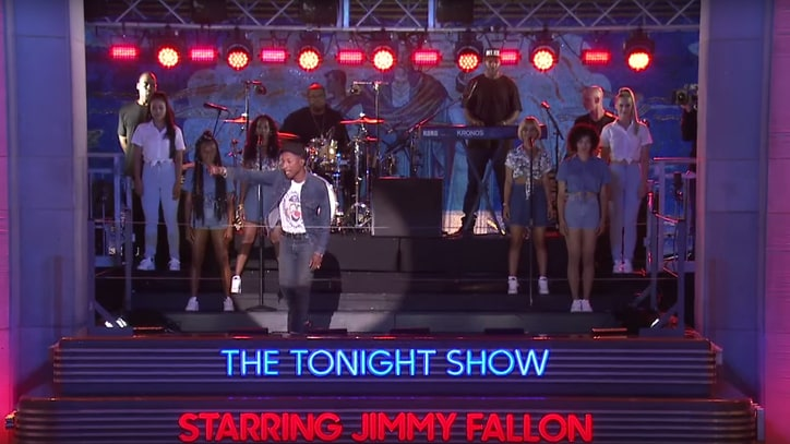Watch Pharrell Perform 'Freedom' Atop 'Tonight Show' Marquee