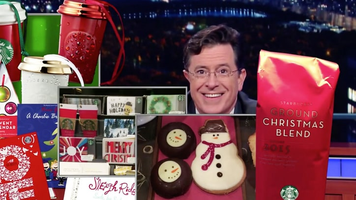Stephen Colbert Unveils Christmas-Heavy Starbucks Cup on 'Late Show'