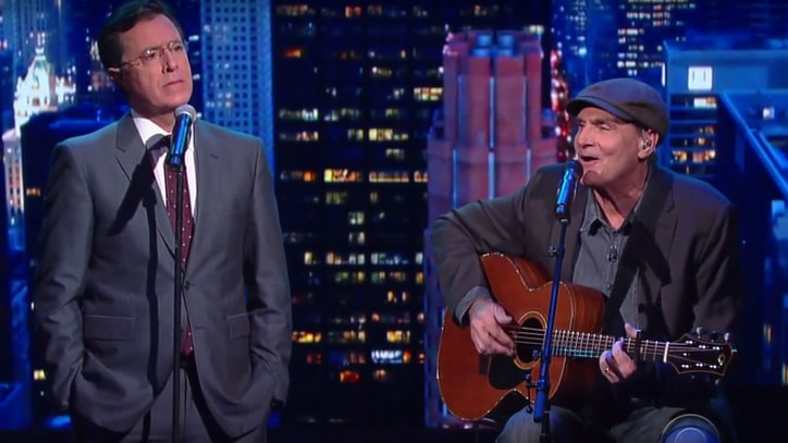 Watch James Taylor Sing 'Fire and Rain and Calzones' With Stephen Colbert