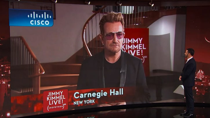 Watch Bono Hype (RED) Campaign, Joke About Bike Injury on 'Kimmel'