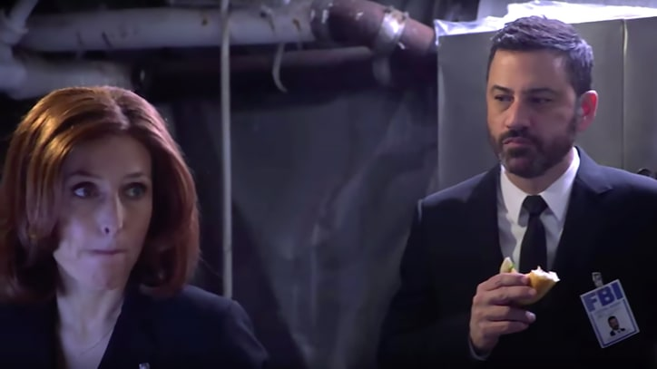 Watch 'X-Files'' Mulder, Scully Make Out to Hootie on 'Kimmel'