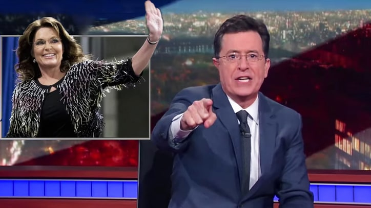 Watch Stephen Colbert Hail Palin's Return to Campaign Trail