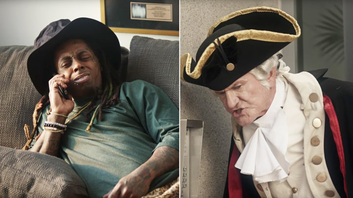 Watch Lil Wayne Chill With George Washington in Odd Super Bowl Ad