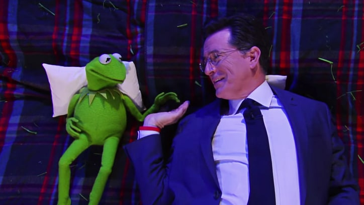 Watch Colbert, Kermit the Frog Contemplate Free Will, High-Fives