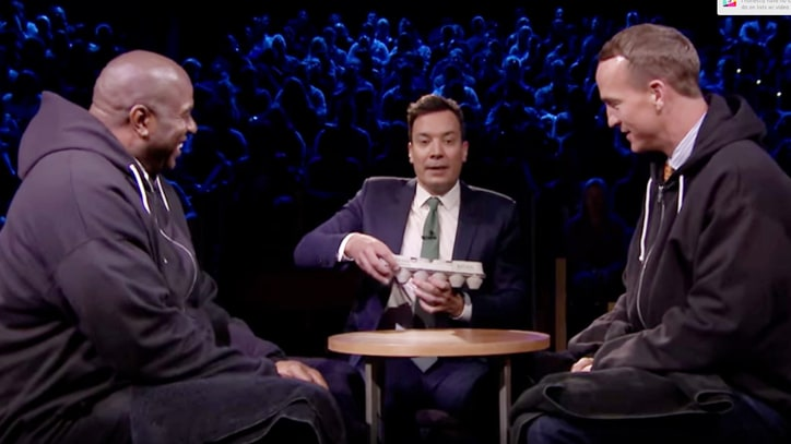 Peyton Manning, Magic Johnson Smash Eggs on Their Heads on 'Fallon'