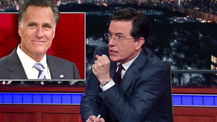 Stephen Colbert Begs Mitt Romney to Save GOP From Donald Trump