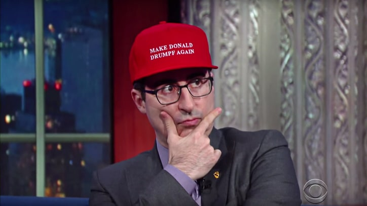 Watch John Oliver Reluctantly Talk 'Donald Drumpf' on 'Colbert'